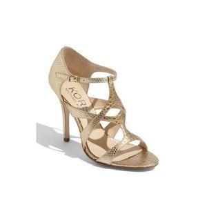 Kors by Michael Kors Sasha Gold Snakeskin Heels